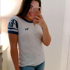 PINK T shirt, Navy Blue and light grey